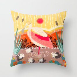 Roseate Spoonbill in the Sunset Throw Pillow