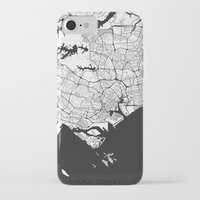 singapore iPhone & iPod Cases featuring Singapore Map Gray by City Art Posters
