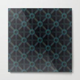 Teal on black 3D pattern Metal Print