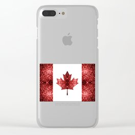Canada flag red sparkles Clear iPhone Case