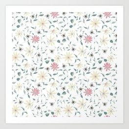 Floral Bee Print Art Print