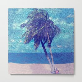 Stormy day at the beach Palm trees Metal Print
