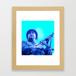 retro American GI soldier with Thompson machine gun  Framed Art Print
