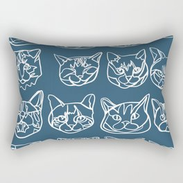 Blue and White Silly Kitty Faces Rectangular Pillow