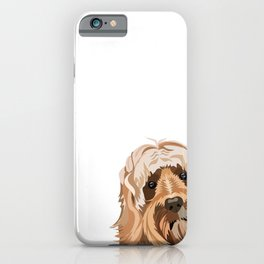Labradoodle portrait peeking dog portrait cute art gifts for dog breed lovers iPhone Case