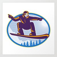 snowboard Art Prints featuring Snowboarder Holding Snowboard Retro by patrimonio