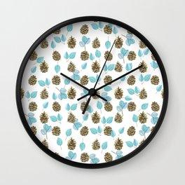 Modern teal brown botanical leaves pinecone pattern Wall Clock