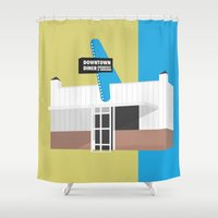kansas city Shower Curtains featuring Kansas City Food - Diner by greetingsfromKC