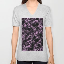 Web Of Lies - Black and pink conceptual, abstract, minimalistic artwork Unisex V-Neck