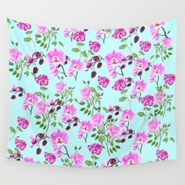 pink purple flowers watercolor painting Wall Tapestry
