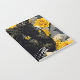 BLACK PANTHER AND YELLOW ROSES Notebook