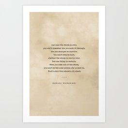 Haruki Murakami Quote 01 - Typewriter Quote on Old Paper - Minimalist Literary Print Art Print