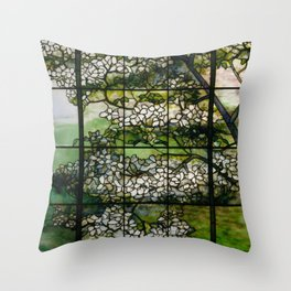 Louis Comfort Tiffany - Decorative stained glass 2. Throw Pillow