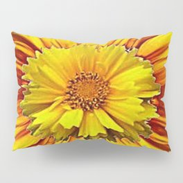 RED & YELLOW  FLOWER DECO MODERN ART Pillow Sham