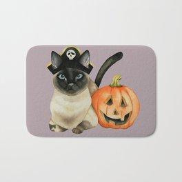 Halloween Siamese Cat with Jack O' Lantern Bath Mat