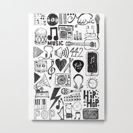 Music Doodles Metal Print