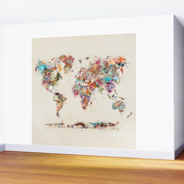 world map watercolor deux Wall Mural