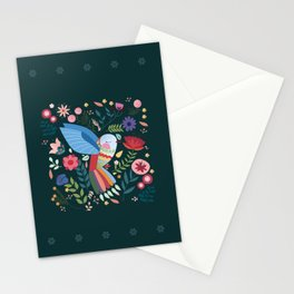 Folk Art Inspired Hummingbird With A Flurry Of Flowers Stationery Cards