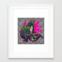 kaiju Framed Art Prints featuring Kaiju Senior Kaiju Junior by firestarterdesign