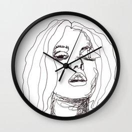 Sketch girl with butterfly | painter women | black art Wall Clock
