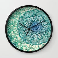 jazzberry blue Wall Clocks featuring Emerald Doodle by micklyn