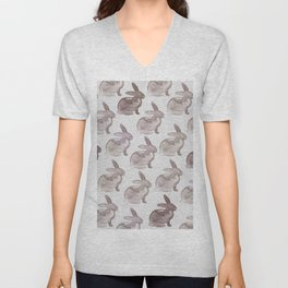 Watercolor Bunnies 1M by Kathy Morton Stanion Unisex V-Neck