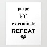warhammer Art Prints featuring Purge-kill-exterminate black, Warhammer 40K by ZsaMo Design