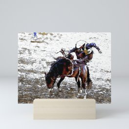 The Dismount   -   Rodeo Cowboy Mini Art Print