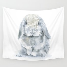 Mini Lop Gray Rabbit Watercolor Painting Wall Tapestry
