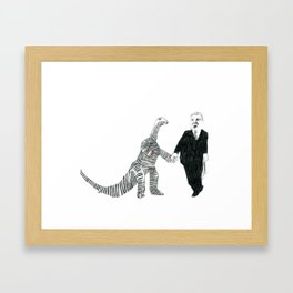 Dinosaur + Businessman = Love Framed Art Print