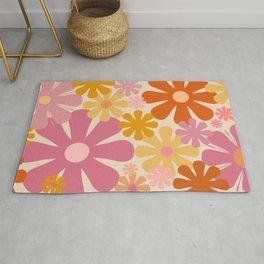 Retro 60s 70s Flowers Thulian Pink Orange Cream Pattern Rug