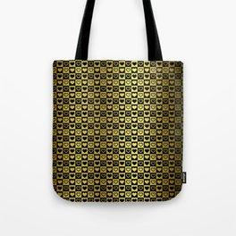 Gold & Black Valentines Loveheart Square Checkers Tote Bag