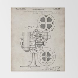 Film Projector Patent - Cinema Art - Antique Throw Blanket