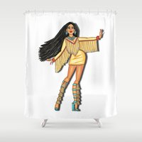 pocahontas Shower Curtains featuring Diva, Pocahontas by Anthony Michael