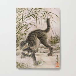 Cat catching a frog Metal Print