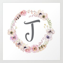 Floral Wreath - J Art Print