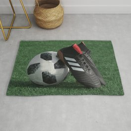 Football with soccer shoes #sports #society6 Rug