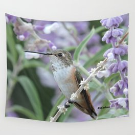 Ms. Hummingbird's Break Time in Mexican Sage Wall Tapestry