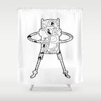 finn Shower Curtains featuring Finn  by 8BOMB