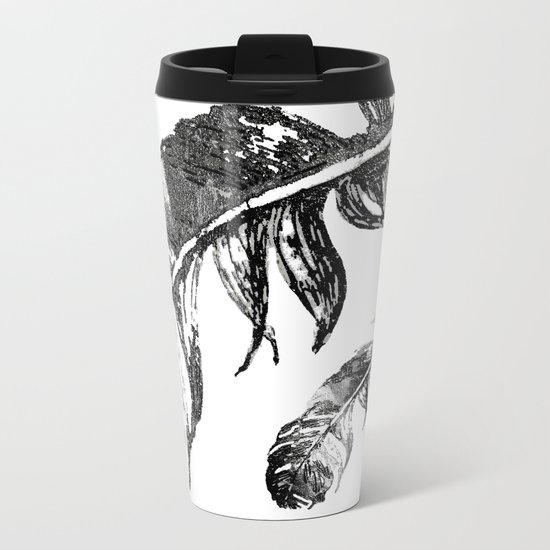 FEATHERS IN BLACK WHITE AND GRAY Metal Travel Mug