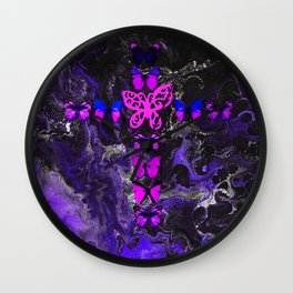 Purple Fire Cross Wall Clock