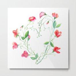 Heart of Sweet Peas Metal Print
