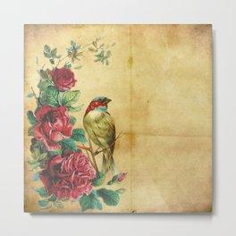 Bird Neck Gator Roses Bird Metal Print