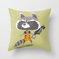 rocket raccoon Throw Pillows featuring Rocket Raccoon by Rod Perich
