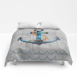 Maritime Design- Nautic Anchor Navy Marine Beach Comforters