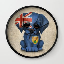 Cute Puppy Dog with flag of Turks and Caicos Wall Clock