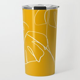 Monstera minimal - yellow Travel Mug