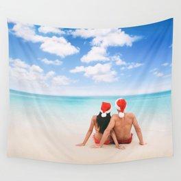 Christmas beach vacation couple on Hawaii Wall Tapestry