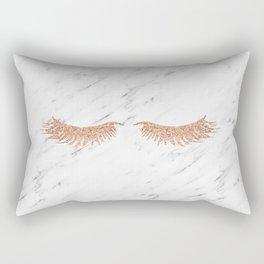 Rose gold marble lash envy Rectangular Pillow