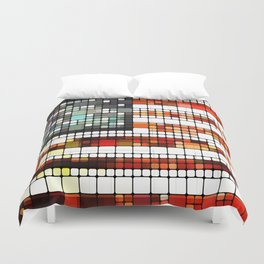Retro Abstract American Flag Duvet Cover